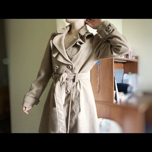 Ruffle Collar Tan Pea Coat